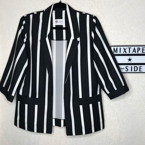 Vintage Donovan Galvani Black White Striped Blazer